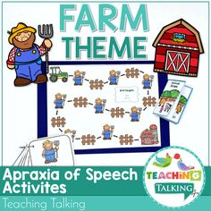 These interactive farm theme Apraxia of Speech Activities are a fun and engaging way to elicit multiple repetitions of targets-with a mini book to take home Cookie Sheet Activities, Articulation Activities, Speech Therapy Activities, Language Activities, Speech Therapy Themes, Speech Language Pathology, Speech And Language, Childhood Apraxia Of Speech, Farm Theme