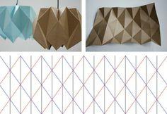 suspensions origami en papier marron/bleu pastel avec patron de pliage