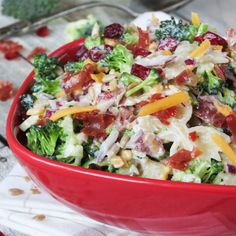 This light, refreshing and simple broccoli cranberry pasta salad is the perfect side dish for any meal.