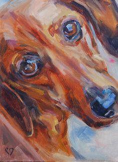 Dachshund Dog Painting Original oil by Carol DeMumbrum by cdemum