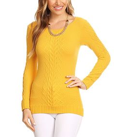 Yellow Cable-Knit Scoop Neck Top #zulily #zulilyfinds