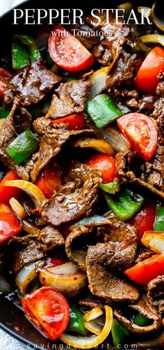 Green pepper steak with tomatoes and onions - Food and Recipe .- Green Pepper Steak with Tomatoes and Onions – Food and Recipes – This vibrant and flavorful stir-fry is easy enough for a weeknight and good fun – Steak Au Poivre, Green Pepper Steak, Green Pepper Recipes, Recipes With Green Peppers, Pepper Steak And Rice, Pepper Steak Stir Fry, Chinese Pepper Steak, Crockpot Pepper Steak, Pork Stir Fry