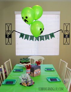 Easy DIY Minecraft Birthday Party Decorations and Ideas.  This Party Table is so simple, the kids love LOVE this on the table everyday.