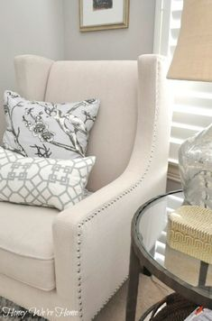 Master sitting room details with new wing chair