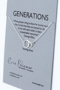 Generations Necklace. Family. Sisters. Mother. Grandmother.  Inspirational