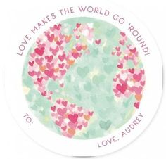 This Classroom Valentine Sends A Positive Message With A Painted Earth Full Of Hearts. Green, Pink Valentine Day Cards From Minted By Independent Artist Holly Whitcomb. Petal CVD.