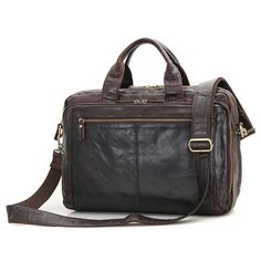 Men Bags Leather Business Briefcase 15.6
