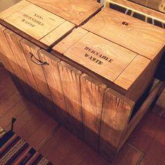 男性で、Otherのセリア 取手/収納/ステンシル/ゴミ箱 DIY/男前/手作り…などについてのインテリア実例を紹介。「収納ゴミ箱」(この写真は 2014-07-01 02:17:56 に共有されました)