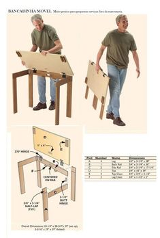What type of hinges are used on the top of this folding table? Does anyone know what type of hinges are attached to the top of this folding table? The legs fold in toward the back then the top folds down flat against the legs. Folding Table Diy, Diy Sewing Table, Folding Workbench, Folding Furniture, Diy Table, Furniture Plans, Diy Furniture, Workbench Plans, Rustic Furniture