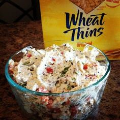 Party Dip: 16oz cream cheese softened 1 pkg dry ranch dressing mix 2oz chopped black olives 2 jalepeno peppers unseeded and chopped 1 red pepper chopped 2/3 C. cheddar cheese