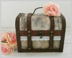 Rustic Suitcase Wedding Card Box Vintage Decoration Guest Box Advice Box Shabby Chic Card Box Suitcase Holder Cards Sign Lace flower decor