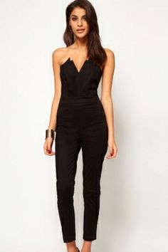 5bdd17c78e Asos Jumpsuit With Pleat Bust Origami Detail - Black - ShopStyle Dress