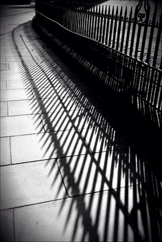 Railing Shadows. The Mound, Edinburgh, Scotland