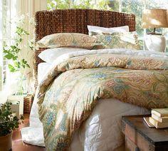seagrass bed u0026 headboard pottery barn