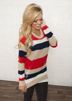 Color Block Distressed Sweater Red/Navy/Taupe