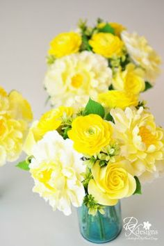 Come back to the room to find vases filled with peonies, roses and ranunculus in shades of yellow.