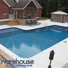 Our DIY 18 x 43 x 30 L Shaped Pool Kit With Tanning Ledge Step is perfect for any backyard! Let Pool Warehouse design your dream swimming pool kit! Swimming Pool Kits, Swimming Pools Backyard, Swimming Pool Designs, Pool Landscaping, Indoor Pools, Pool Decks, Big Pools, Small Pools, Pool Warehouse