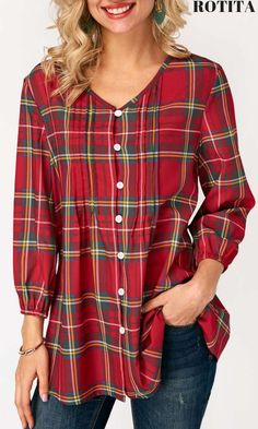 Blouson Sleeve Plaid Print V Neck Blouse .With new styles added each morning,you will discover fabulou finds for you,your family,&your home. Kurta Designs, Blouse Designs, Umgestaltete Shirts, Shirt Refashion, V Neck Blouse, Discount Designer Clothes, Short Tops, Blouse Styles, Casual Outfits