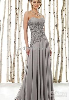 Wholesale Actual Images Chiffon Sweetheart Silver Mother of the Bride Dresses Full Length Applique Hot Sale, Free shipping, $80.64-94.08/Piece | DHgate
