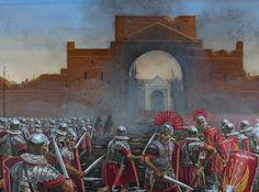 La última defensa de la Guardia Pretoria de Vitelio (69 d.C), cortesía de Seán Ó'Brógáin. Más en www.elgrancapitan.org/foro