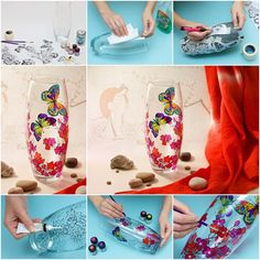 DIY Colorful Floral Painting Wine Glasses