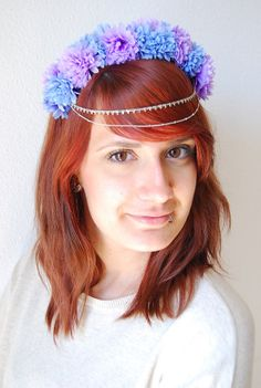 Purple and Blue Flower Crown Headpiece with by NebulaXcrafts, $40.60