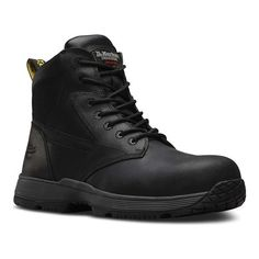 Martens Work Corvid Non-Metallic SD Safety Toe 7 Eye Boot - Black Connection Boots Dr. Martens, Red Doc Martens, Doc Martens Boots, Sneakers Mode, Sneakers Fashion, High Top Sneakers, Composite Toe Boots, Shoe Company, Designer Boots