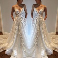 Princesses Wedding Dress,Wedding Dresses,Spaghetti Straps Summer Wedding Dress Boho Bridal Gown with Appliques Lace by DestinyDress, $277.39 USD