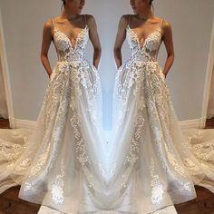Princesses Wedding Dress,Wedding Dresses,Spaghetti Straps Summer Wedding Dress Boho Bridal Gown with Appliques Lace by DestinyDress, $277.39 USD