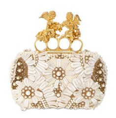 Alexander McQueen's embroidered silk knuckle clutch.