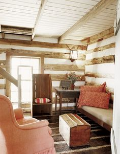 A log-cabin sitting room.