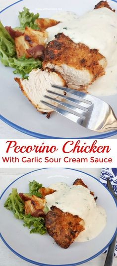 Oven baked or Airfryer – Tender and juicy Pecorino Crusted Chicken with an amazing (easy!) 5 minute Garlic Sour Cream Sauce #easychickenrecipes #airfryerrecipes #comfortfoodrecipes #ovenbaked