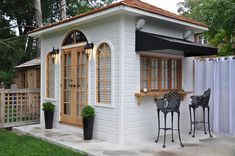 """The French-inspired shed """"Sonoma"""" is a confluence of a classic design with modern simplicity. Building Plans, Building Design, Traditional Sheds, Shed Sizes, Pool Cabana, Arched Windows, Wooden Garden, Shed Plans, Home Studio"""