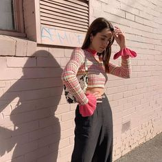 Plaid Casual O-Neck Flare Long Sleeve Slim Pullovers Crop Top - Power Day Sale#womenshirts #tunics #blouses #haltertops #womenstops #camitop #croptop #Goodvibesonly High Street Fashion, Street Style, Cropped Tops, Crop Top Shirts, Long Sleeve Crop Top, Pink Fashion, Women's Fashion, Pattern Fashion, T Shirts For Women