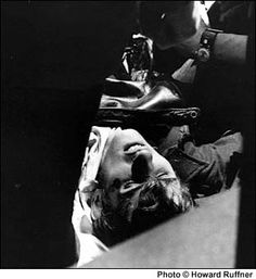 John Cleary lies wounded after being shot by the National Guard during a protest against the war at Kent State University on May 4, 1970.