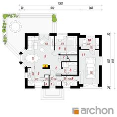 Dom w rododendronach 6 House Plans, Floor Plans, How To Plan, Architecture, Houses, Projects, Blueprints For Homes, Home Plans, Architecture Illustrations