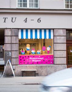 Window illustration for Ingman pop-up ice cream bar in Helsinki.