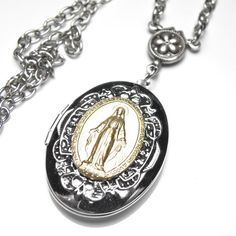 Your place to buy and sell all things handmade Catholic Medals, Catholic Gifts, Locket Necklace, Pendant Necklace, Virgin Mary, Miraculous, French Antiques, Filigree, Antique Silver