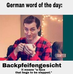"German word of the day: BACKPFEIFENGESICHT. It means ""a face that begs to be slapped."" Thanks Ted Cruz for helping us understand this concept."