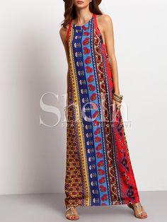 Vestido sin manga vintage maxi -multicolor-Spanish SheIn(Sheinside)