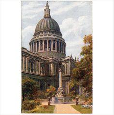 ARQ: A R Quinton: St Pauls Cross & Cathedral - Salmon artist view postcard on eBid United Kingdom Cathedral Church, Cathedrals, Postcards, United Kingdom, Salmon, Auction, England, London, Artist