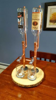 Liquor Dispenser Double by Lumberamics on Etsy