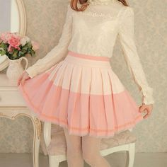 Mango Doll - Two Tone Pleated Organza Lace Skirt , $37.00 (http://www.mangodoll.com/all-items/two-tone-pleated-organza-lace-skirt/)