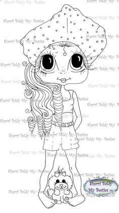 INSTANT DOWNLOAD Digital Digi Stamps Big Eyed  My Bestie Digi Stamp Besties Big Head Dolls Digi Sherri  By Sherri Baldy