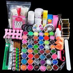 Hot Pro Nail Kit Acrylic Liquid Nail Art Brush Glue Glitter Powder Buffer Tool Set Kit