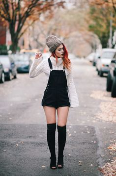 Lua of Le Happy wearing Ramy Brook sweater and ASOS overalls Punk Outfits, Grunge Outfits, Grunge Fashion, Short Outfits, Fall Outfits, Casual Outfits, Fashion Outfits, Womens Fashion, Boho Fashion
