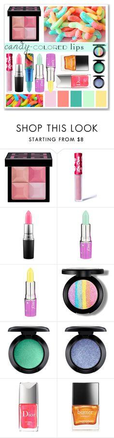 """""""Candy-Colored Lips"""" by cowseatchard ❤ liked on Polyvore featuring beauty, Givenchy, Lime Crime, MAC Cosmetics, Christian Dior and Butter London"""