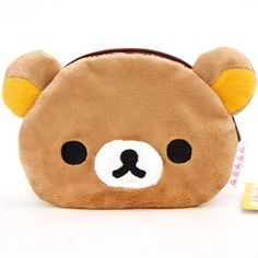 Rilakkuma brown bear plush pouch wallet