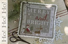 "WITH THY NEEDLE & Thread: ""Ho! Ho! Ho!"" - Primitive Cross Stitch Christmas Pattern, Chart - Country Stitches - Brenda Gervais"