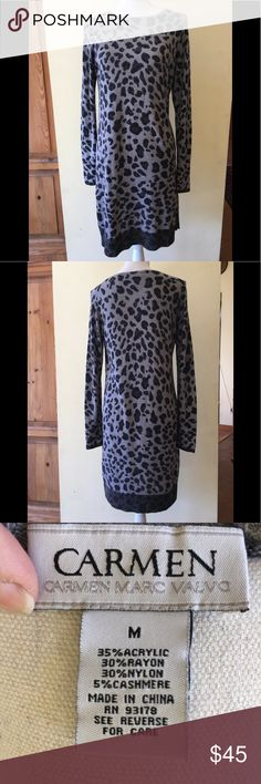 Carmen Marc Valvo Leopard Knit Dress Gorgeous lightweight knit Carmen Marc Valvo dress, Gray leopard print with long sleeves, size M. Acrylic with cashmere blend, very soft and luxurious. Carmen Marc Valvo Dresses Long Sleeve